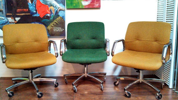 sold steelcase vintage retro modern swivel chairs reclining and