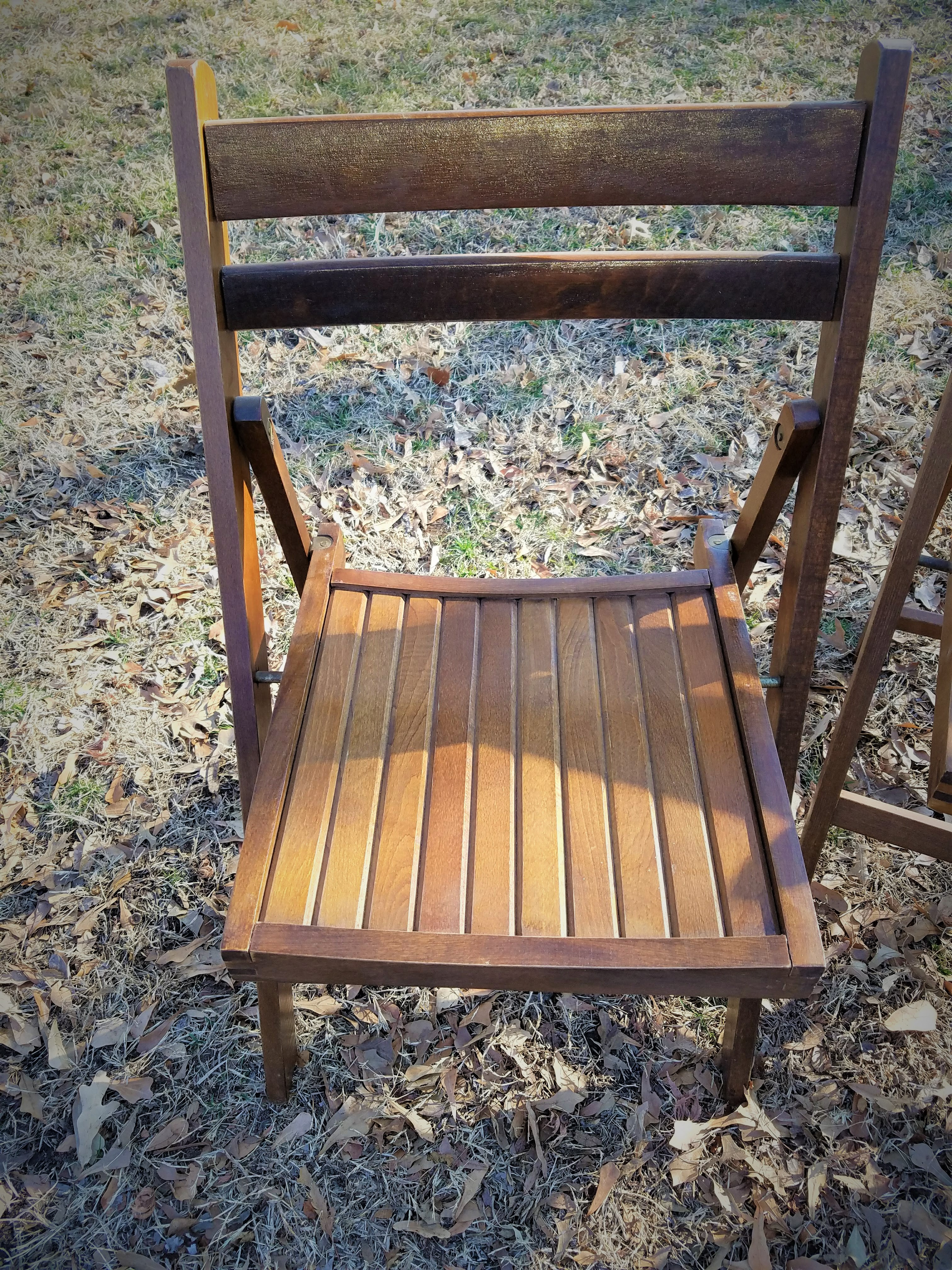 4 Vintage Wood Folding Chairs Danish Modern Dining Set Porch